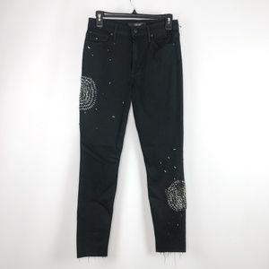 Joe's Jeans Black Beaded Skinny Jeans Raw Hem 27
